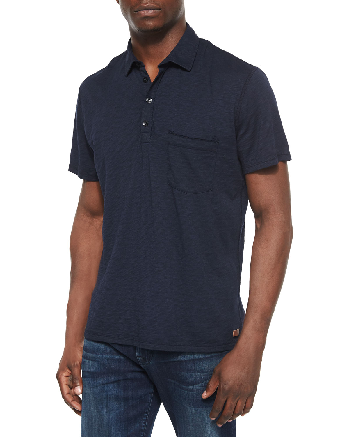 Raw-Edge Short-Sleeve Polo Shirt, Navy