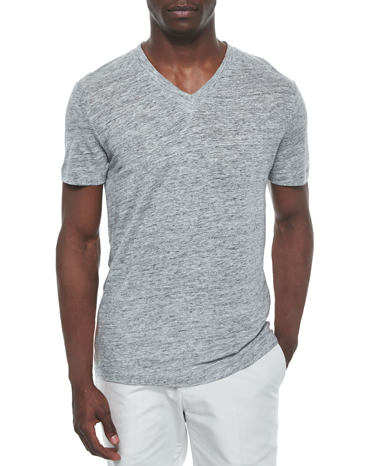 Linen V-Neck Tee, Heather Gray