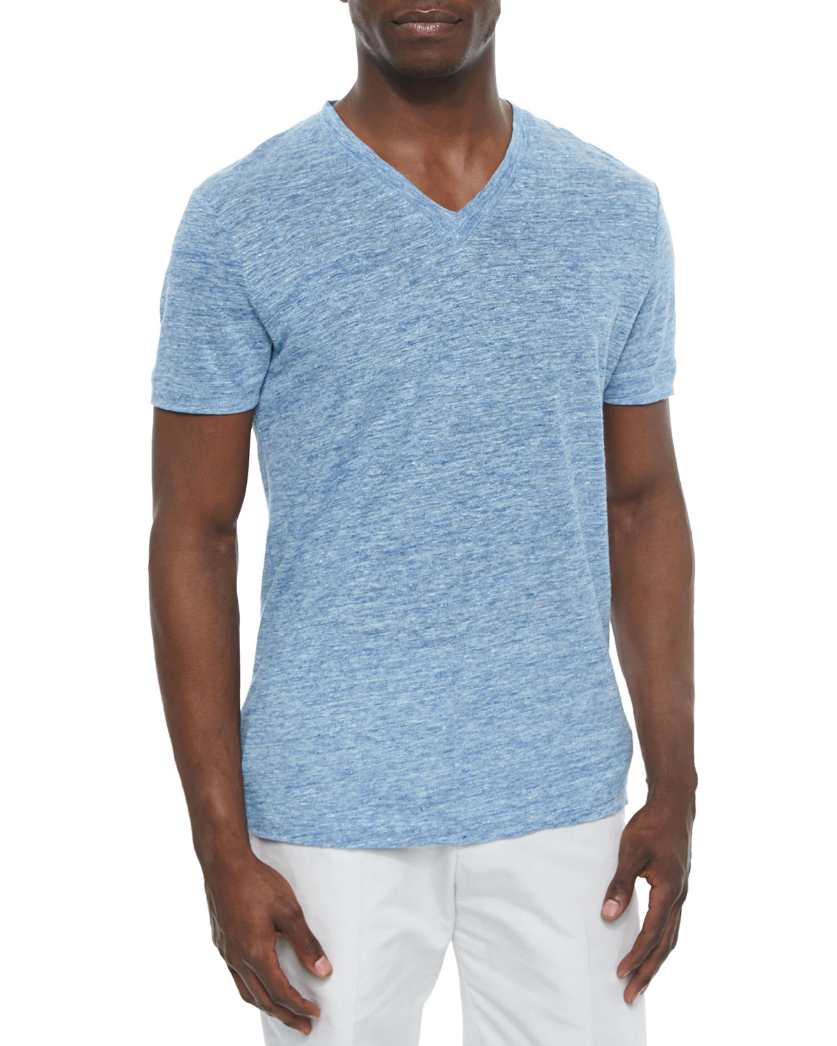Linen V-Neck Tee, Light Blue