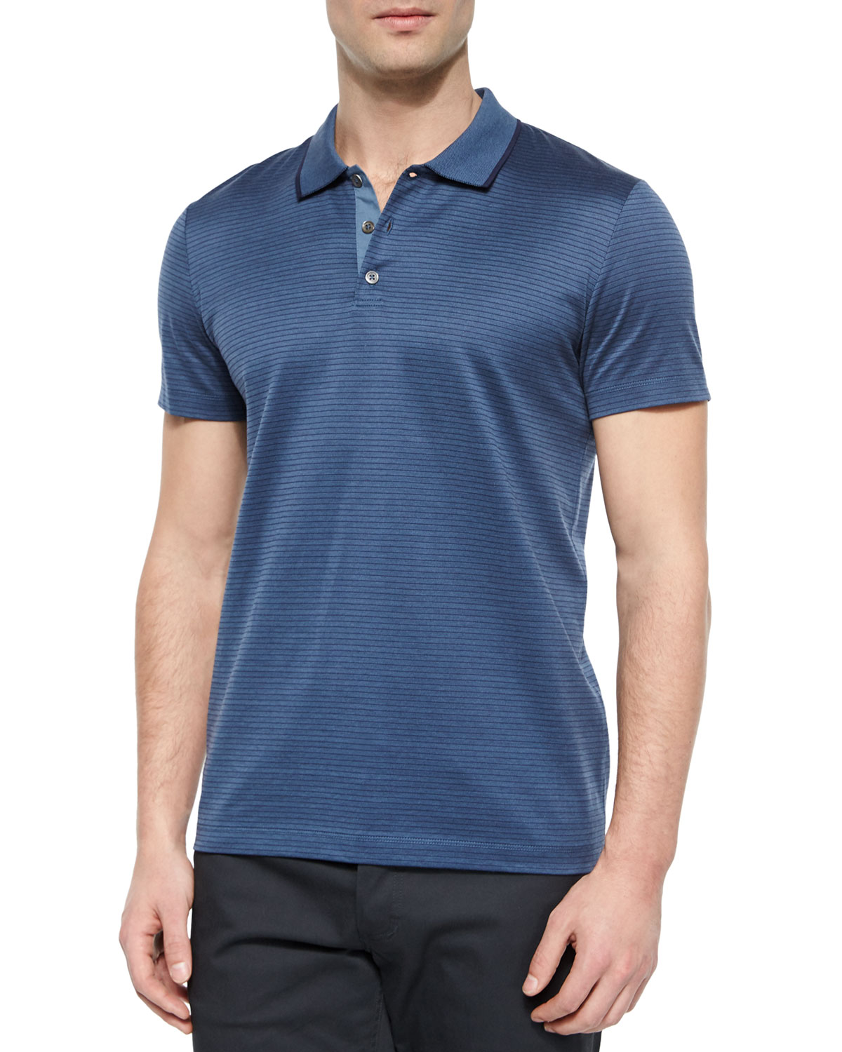 Boyd Striped Short-Sleeve Polo Shirt, Blue