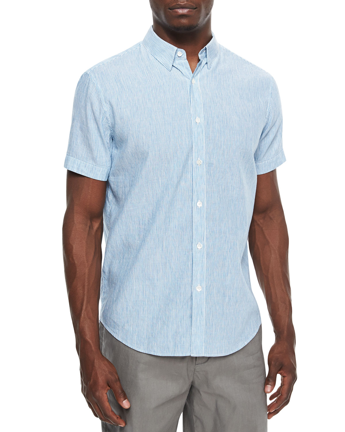 Mini-Stripe Short-Sleeve Linen-Blend Shirt, Light Blue