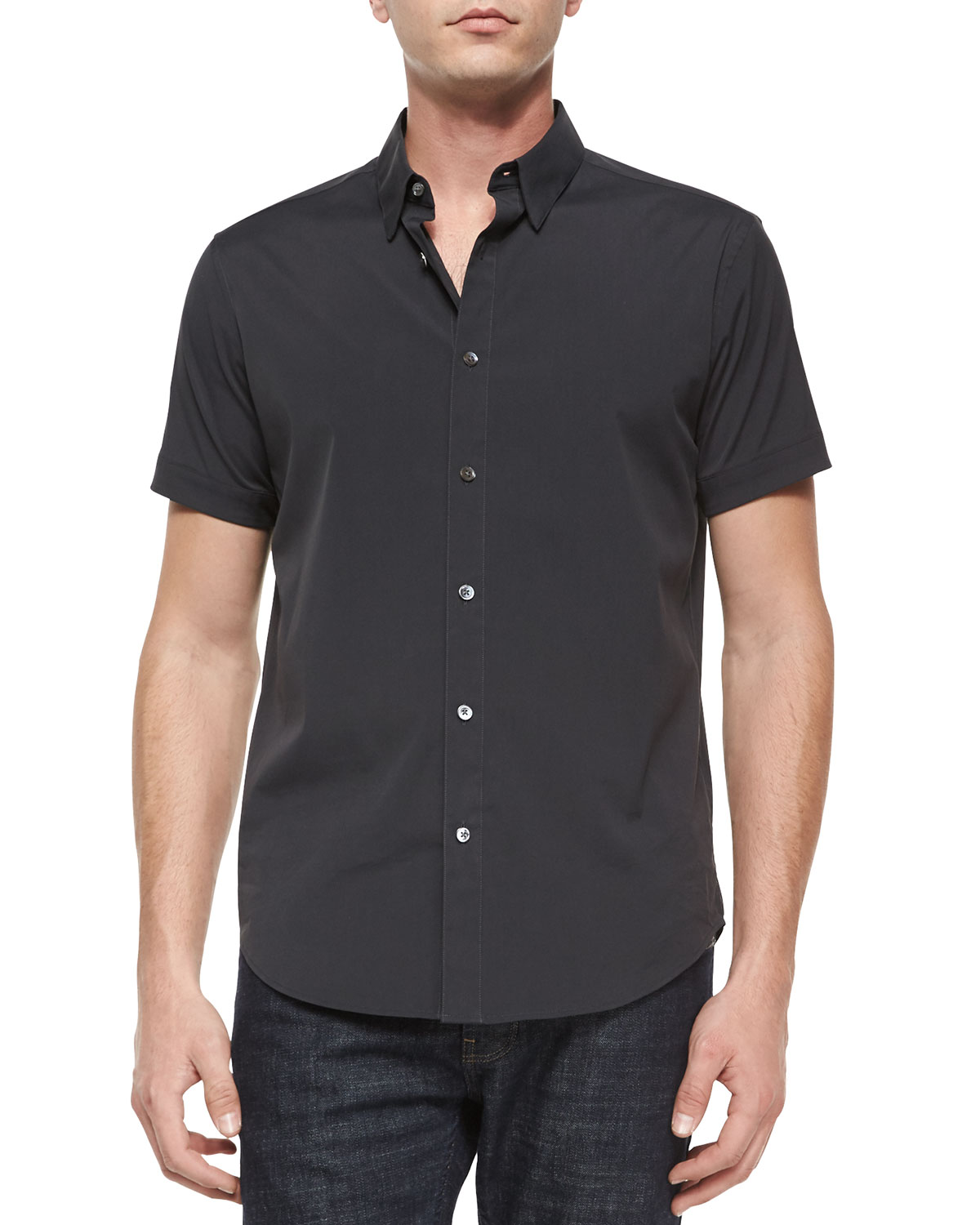 Short-Sleeve Woven Shirt, Black