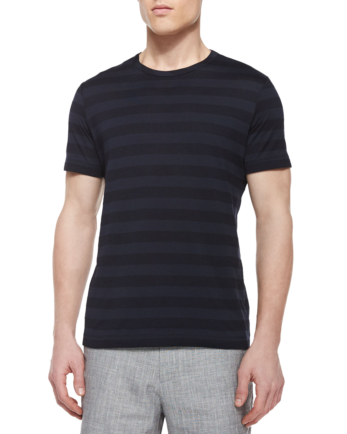 Striped Short-Sleeve Tee, Black