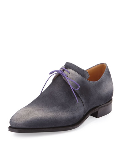 Arca Suede Derby Shoe with Flint Patina & Purple Piping, Grey