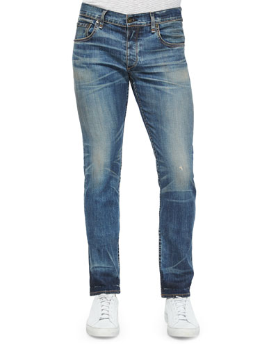 Standard Issue Fit 2 Mid-Rise Relaxed Slim-Fit Jeans, Medium Blue Distressed Worn