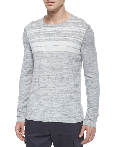 Jaspe Striped Crewneck Sweater, Gray/White