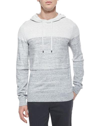 Mini-Stripe Long-Sleeve Hoodie, White/Gray