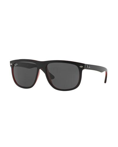 Flat-Top Plastic Sunglasses, Black