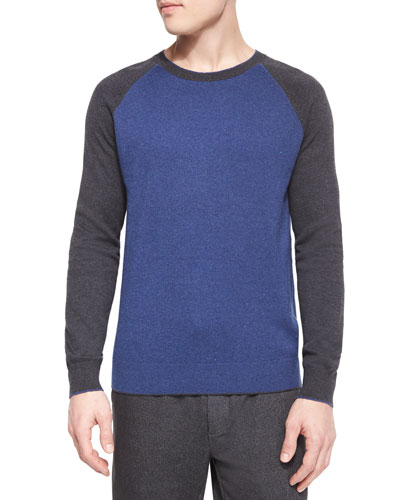 Flecked Raglan-Sleeve Baseball Shirt, Blue