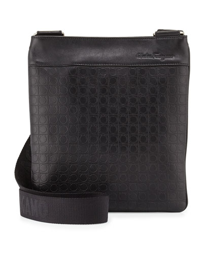 Leather Crossbody Bag, Deep Black