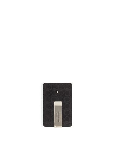 Leather Card Case w/ Money Clip, Black/Gray