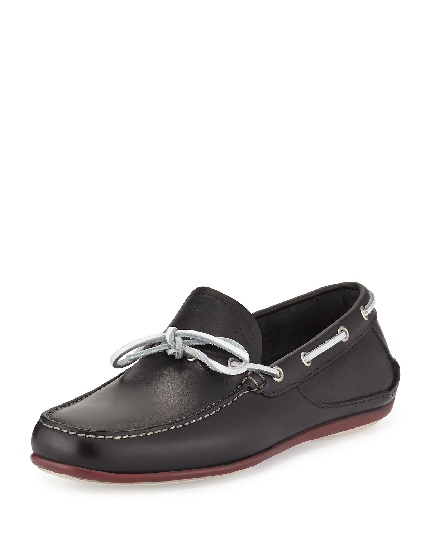Calfskin Boat Shoe, Black
