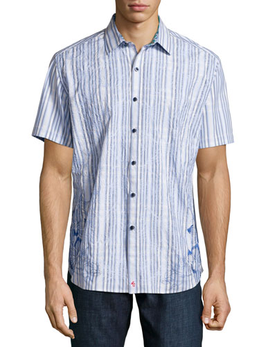 Koloa Embroidered Short-Sleeve Shirt, Blue