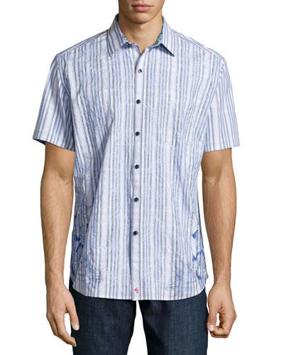 Koloa Embroidered Short-Sleeve Shirt, Blue