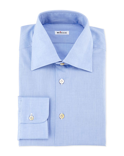 Basic Solid Poplin Dress Shirt, Blue