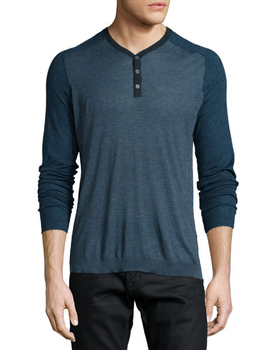 Raglan-Sleeve Knit Henley Shirt, Blue