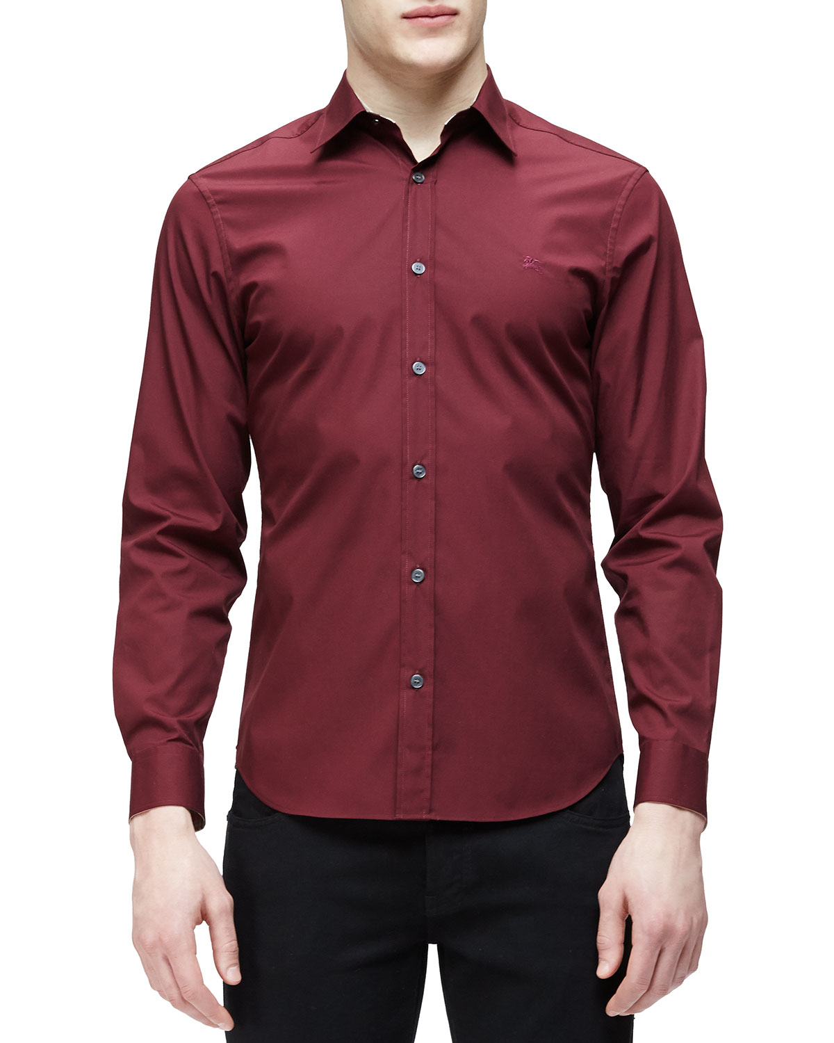 Stretch Poplin Sport Shirt, Deep Burgundy