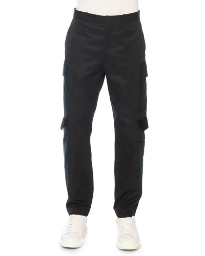 Cargo Pants with Velvet Flaps, Black