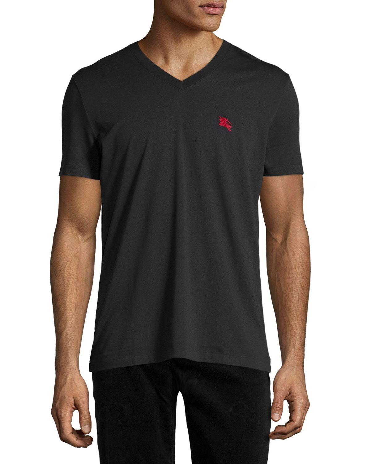 Lindon Cotton V-Neck T-Shirt, Black