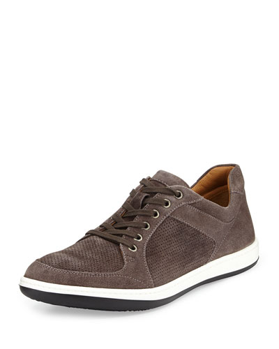 Suede Lace-Up Sneaker, Anthracite