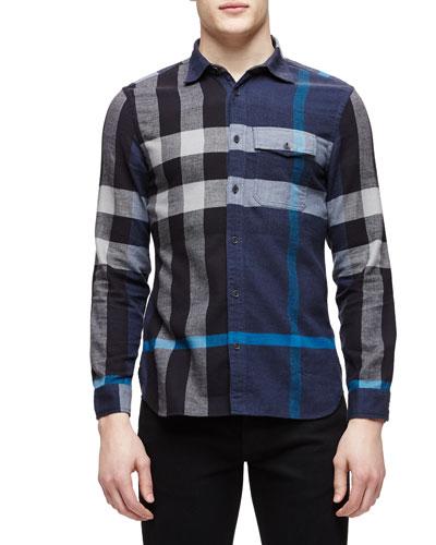 Long-Sleeve Exploded Check Sport Shirt, Blue