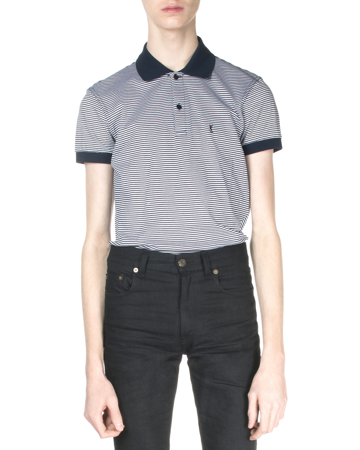 Striped Pique Polo Shirt, Navy