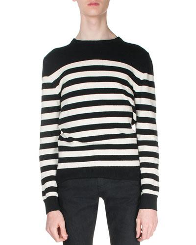 Striped Cashmere Sweater, Black/White