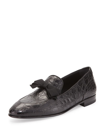 Mercer 2 Crocodile Formal Loafer with Bow Detail, Black