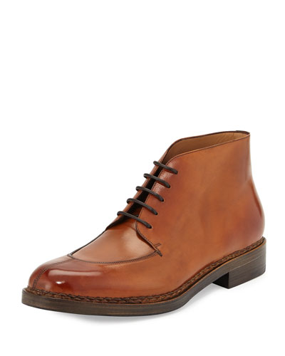 Montauk Tramezza Calfskin Boot with Norwegian Welt, Light Brown