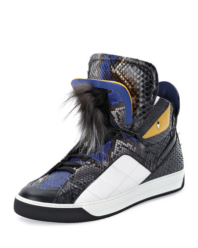 Monster Python Leather High-Top Sneaker