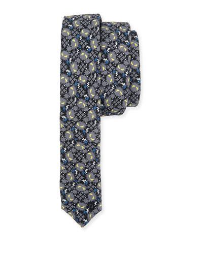 Little Monsters Skinny Tie, Blue/Gray