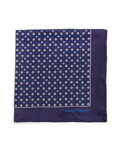 Gancini & Medallion-Print Pocket Square, Blue