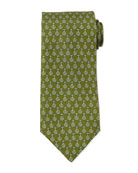 Unicycle-Print Silk Tie, Green