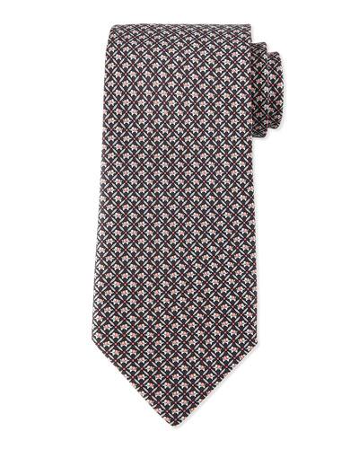 Elephant-Print Silk Tie, Gray/Pink