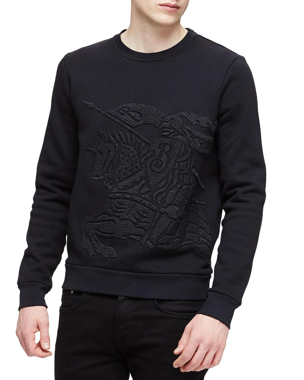 Equestrian Knight Crewneck Sweatshirt, Black