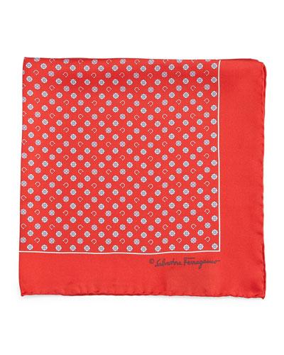 Gancini & Medallion-Print Pocket Square, Red