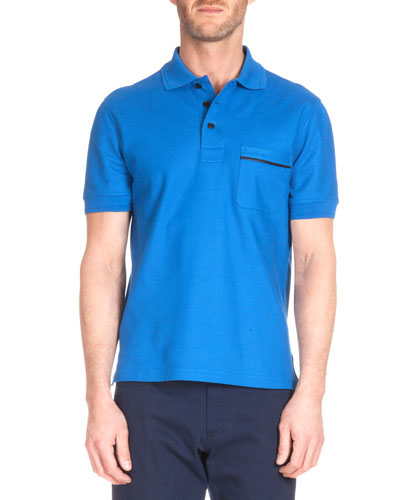 Leather-Trim Polo Shirt, Metallic Blue