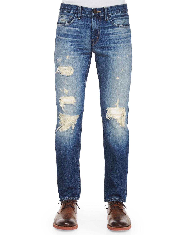 Tyler Deconstructed Ripped Denim Jeans, Indigo