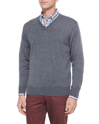 Merino Wool V-Neck Sweater, Charcoal