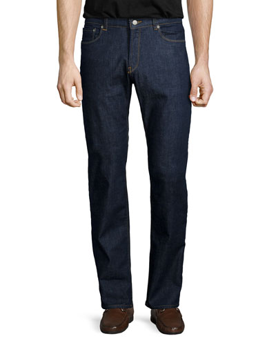 Straight-Leg Stretch-Denim Jeans, Indigo