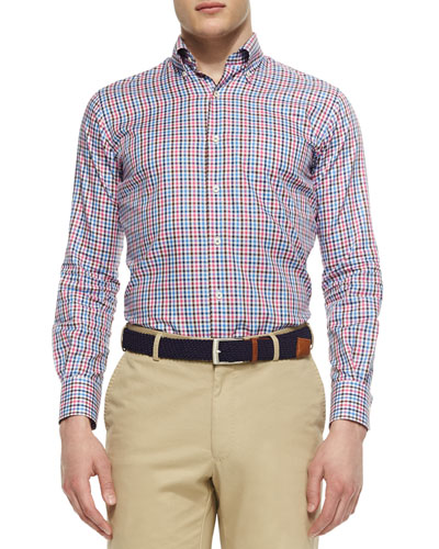 Gingham Tattersall Woven Sport Shirt, Blue/White/Pink