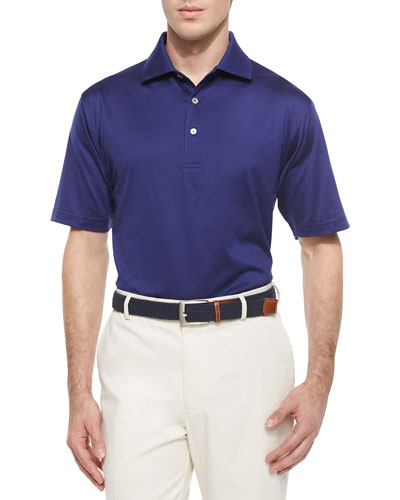 Solid Lisle-Knit Cotton Polo Shirt