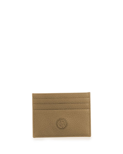 Textured Leather Card Holder, Brown