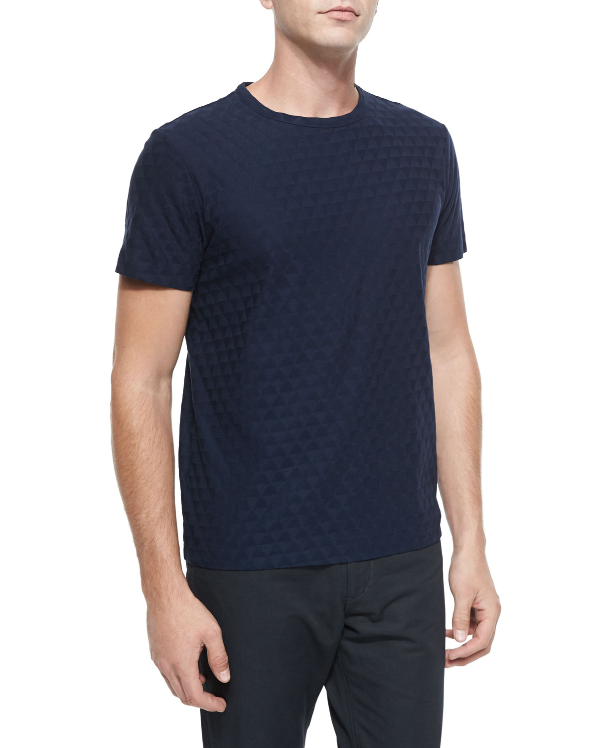 Textured Geo-Print Knit Tee, Navy