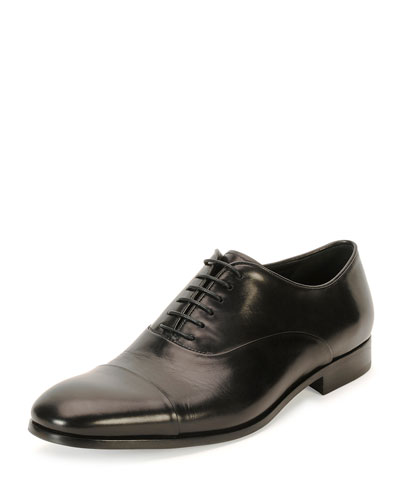 Leather Cap-Toe Oxford Shoe, Black