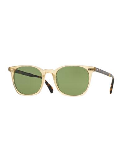 Heaton Square Acetate Sunglasses, Buff/Green, Lt. Beige