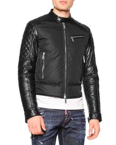 Mixed-Media Moto Jacket, Black