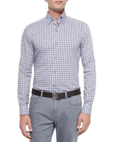 Check Print Woven Sport Shirt, Gray