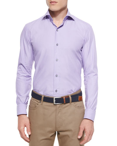 Solid Chambray Sport Shirt, Purple