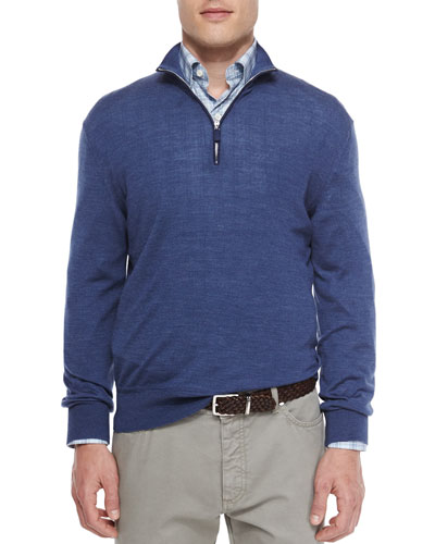 Wool-Blend Quarter-Zip Pullover, Blue